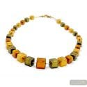 Cubes green and gold - Green and gold Murano glass cubes beads necklace real italian jewellry from Venice