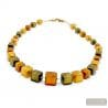 Green and gold Murano glass cubes beads necklace real italian jewellery from Venice