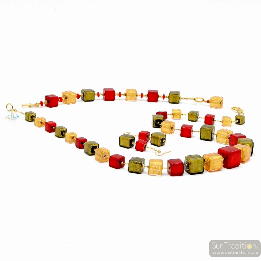 RED AND GOLD JEWELRY SET MURANO GLASS VENICE