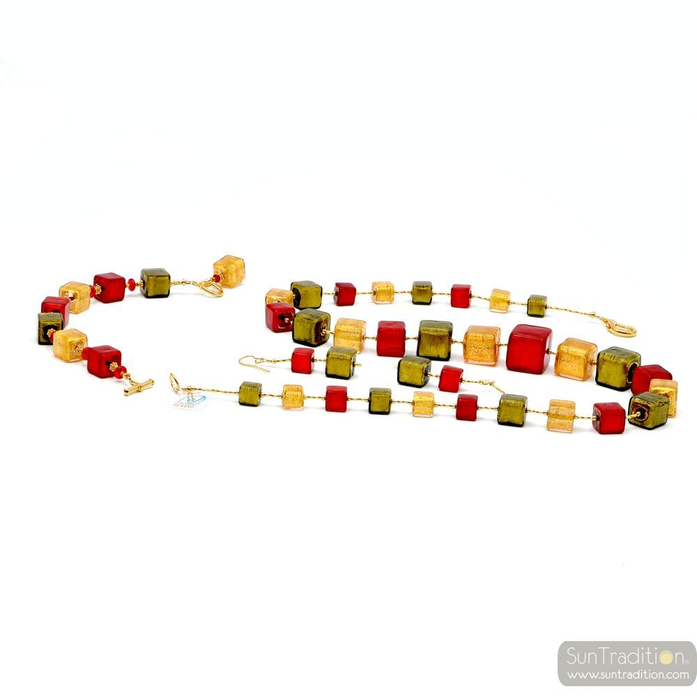 RED AND GOLD CUBES JEWELRY SET IN REAL GLASS MURANO VENICE