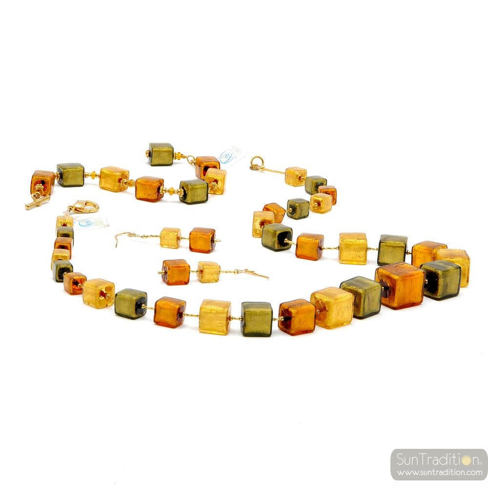 GREEN AND GOLD GLASS CUBES JEWELLERY SET IN REAL MURANO GLASS
