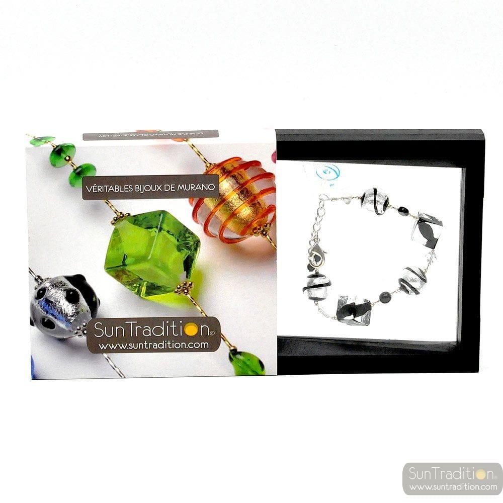 Rumba black - Black beads cubes Murano glass venitian bracelet Italy