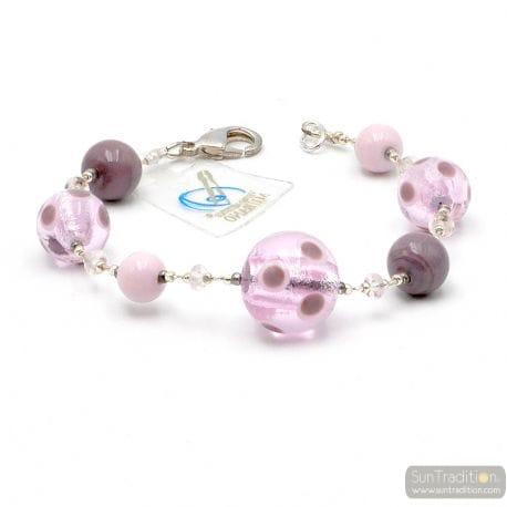 Lilac Murano glass bracelet Venice Italy