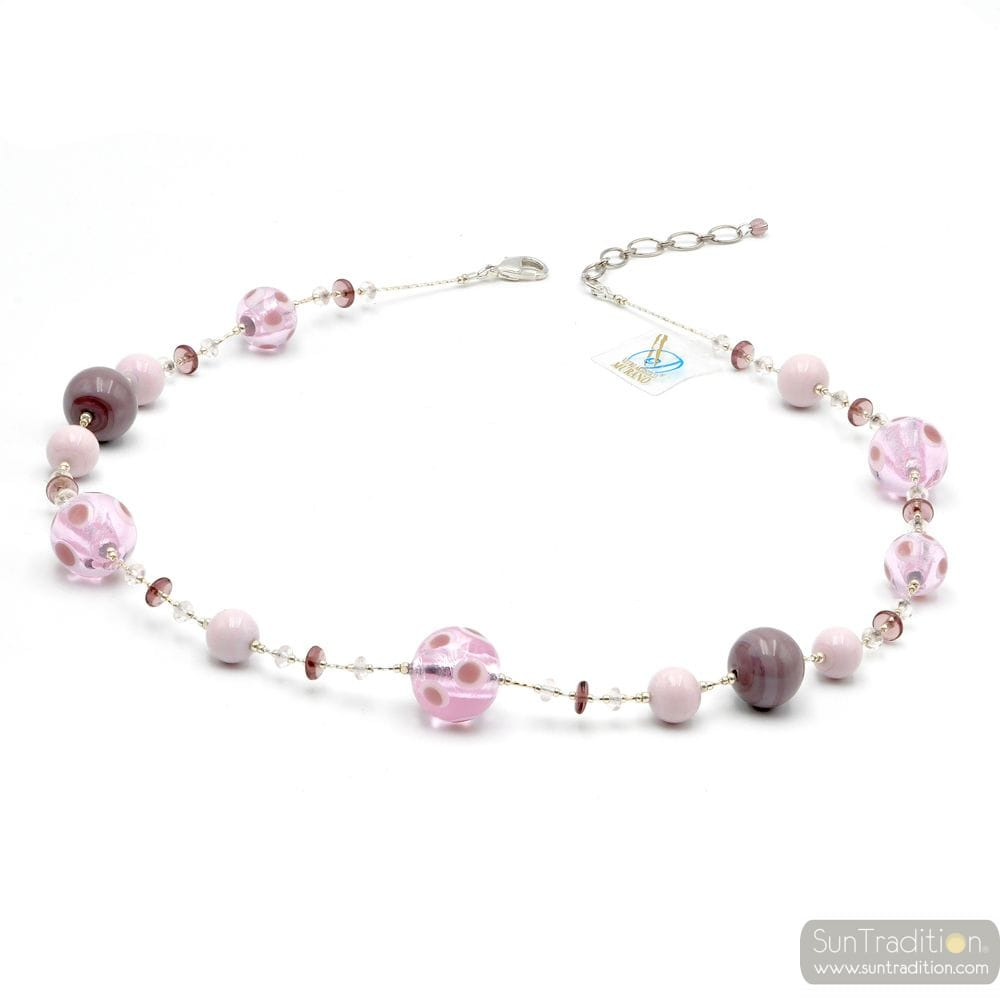 GALAXY LILAC - PINK MURANO GLASS NECKLACE JEWEL GENUINE MURANO GLASS OF VENICE