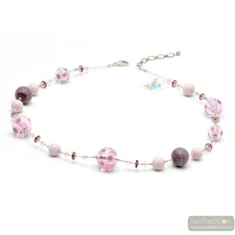 Lilac Murano glass necklace round beads of Venice Italy