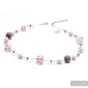 Galaxy Lilac - Lilac Murano glass necklace round beads of Venice Italy