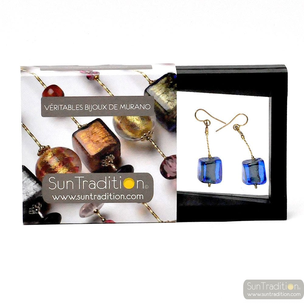 BLUE MURANO GLASS EARRINGS CUBO SCIOGLIENDO GLASS OF VENICE