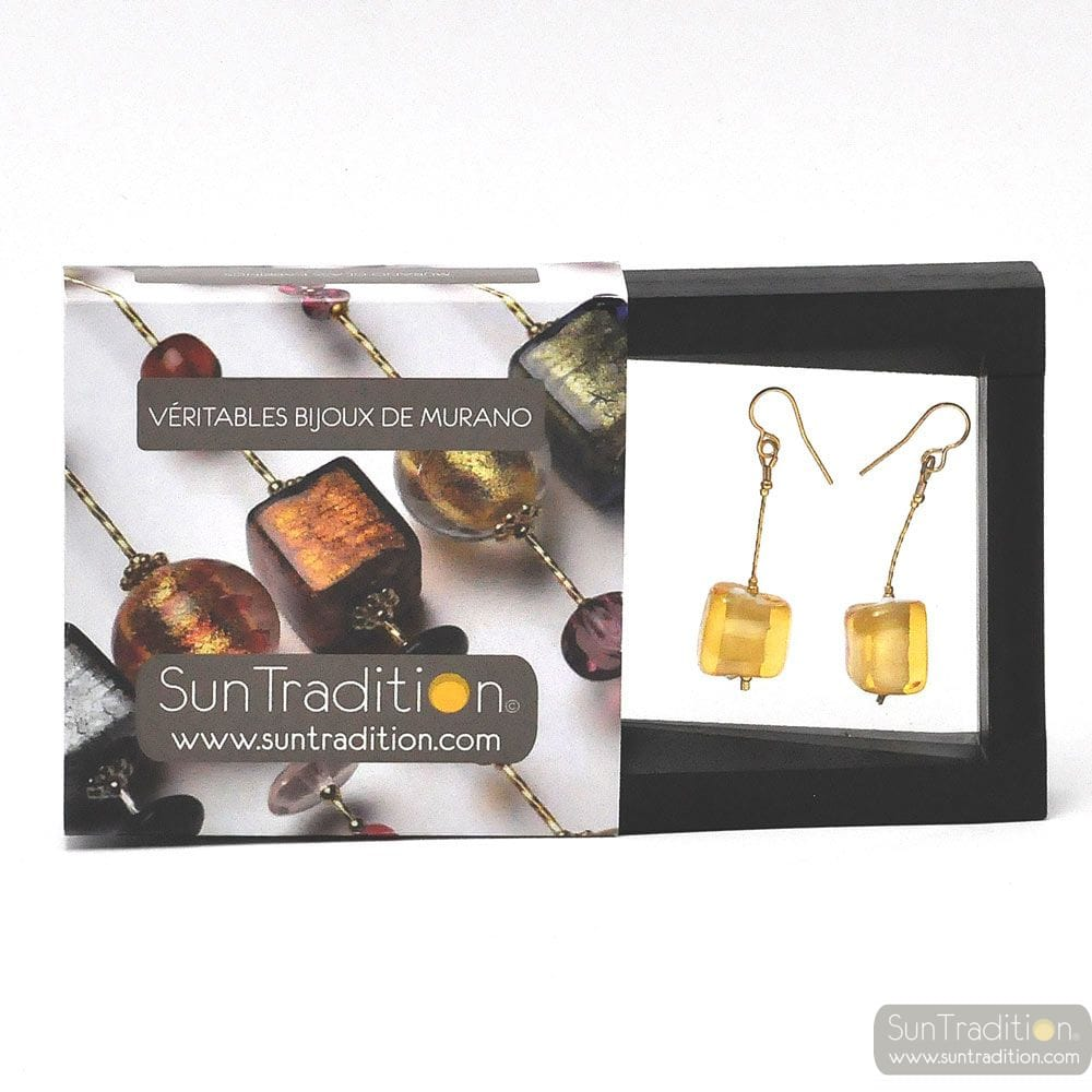GOLD EARRINGS CUBO SCIOGLIENDO MURANO GLASS OF VENICE