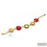 Red and gold Murano glass bracelet from Murano Italy