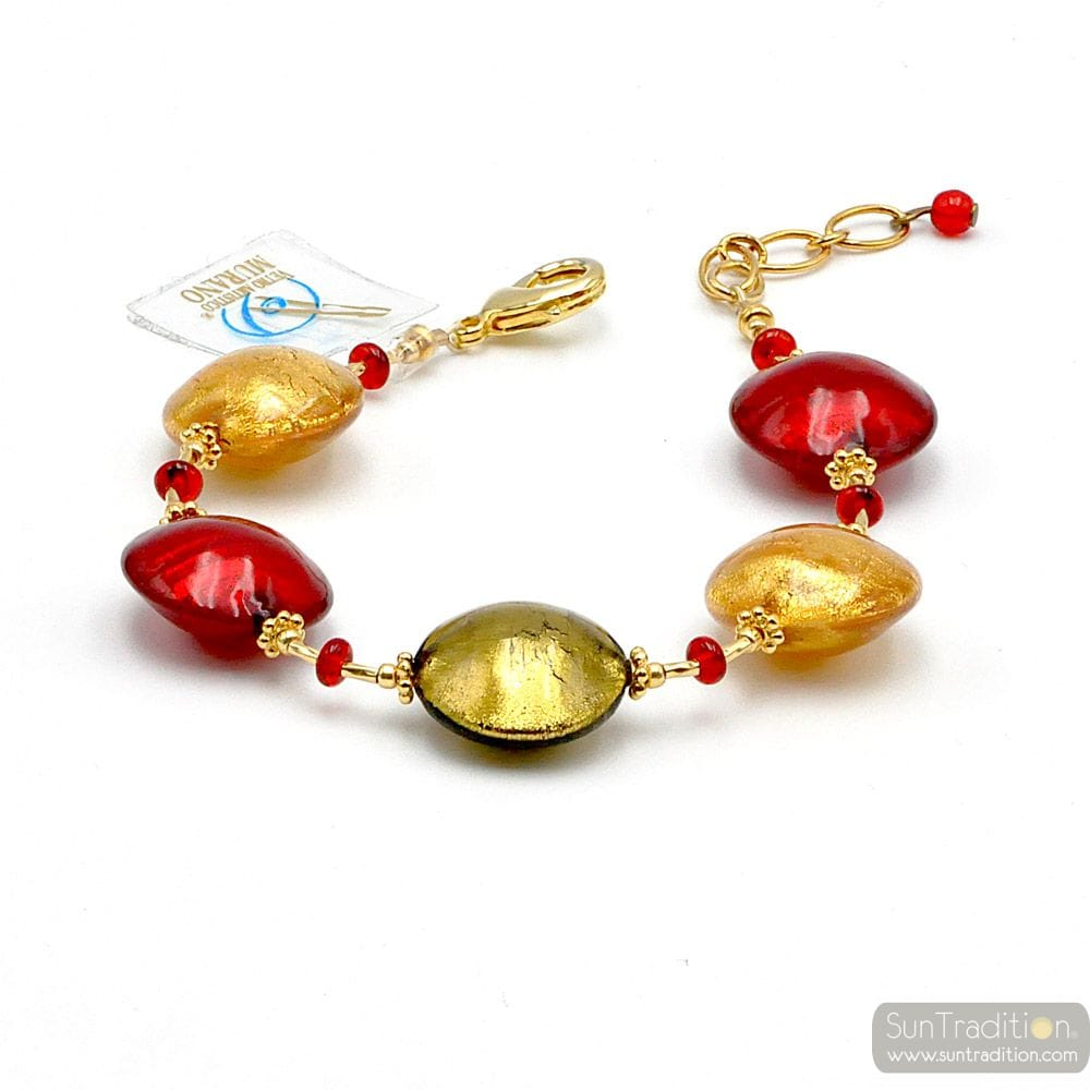 PASTIGLIA RED AND GOLD - RED MURANO GLASS BRACELET FROM VENICE