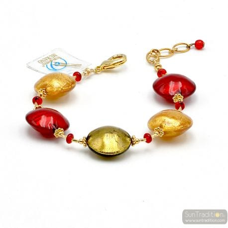 Red Murano glass pellets bracelet from Murano Italy