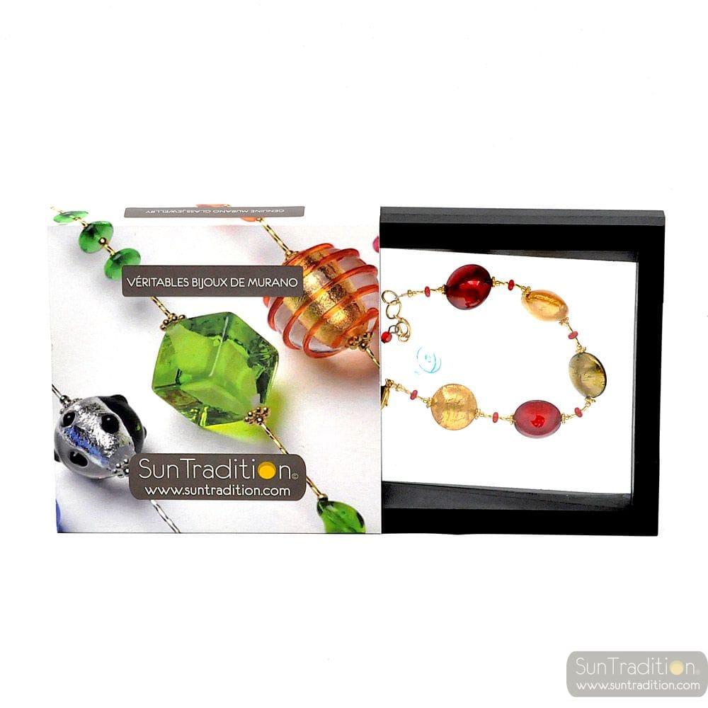 Pastiglia red - Red Murano glass pellets bracelet from Murano Italy