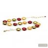 Red and gold Murano glass necklace venitian jewel of Italy