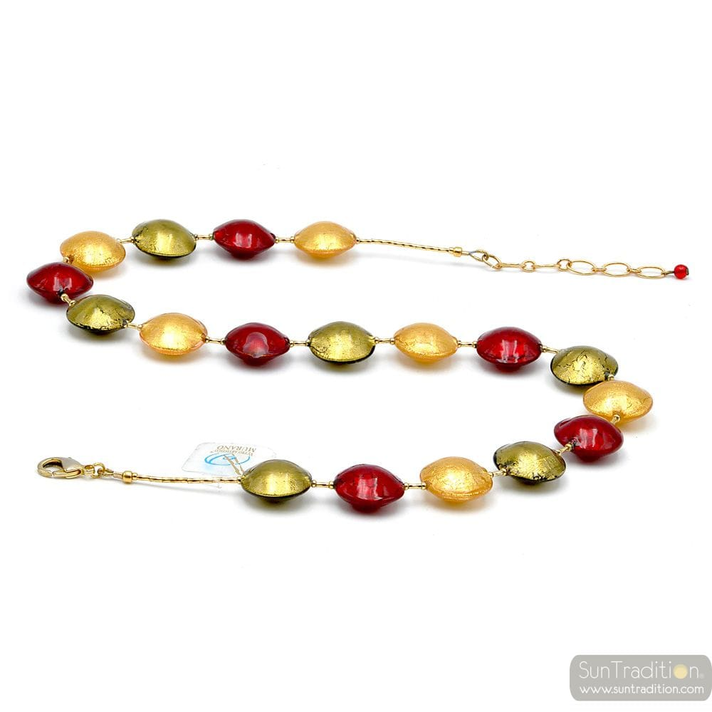 NECKLACE JEWELRY RED AND GOLD GENUINE MURANO GLASS