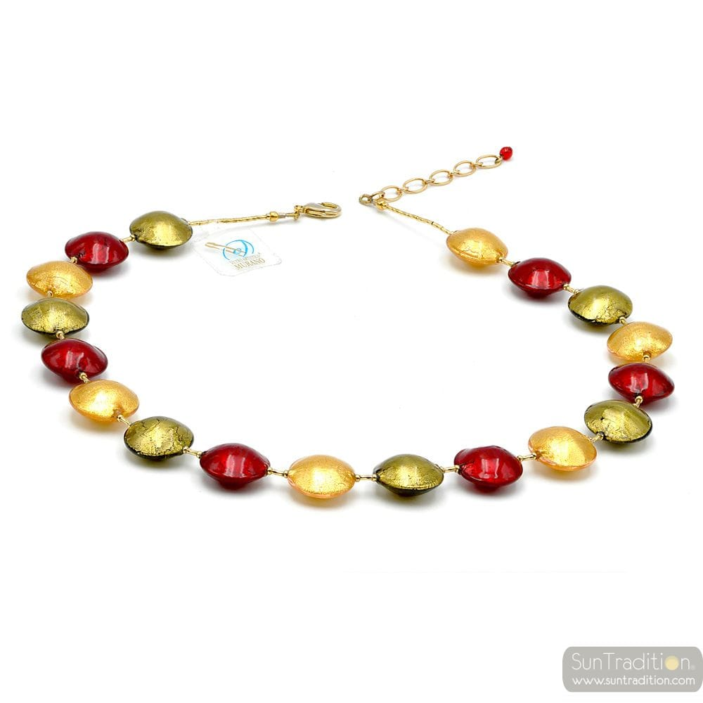 COLLIER ROUGE ET OR EN VERITABLE VERRE DE MURANO