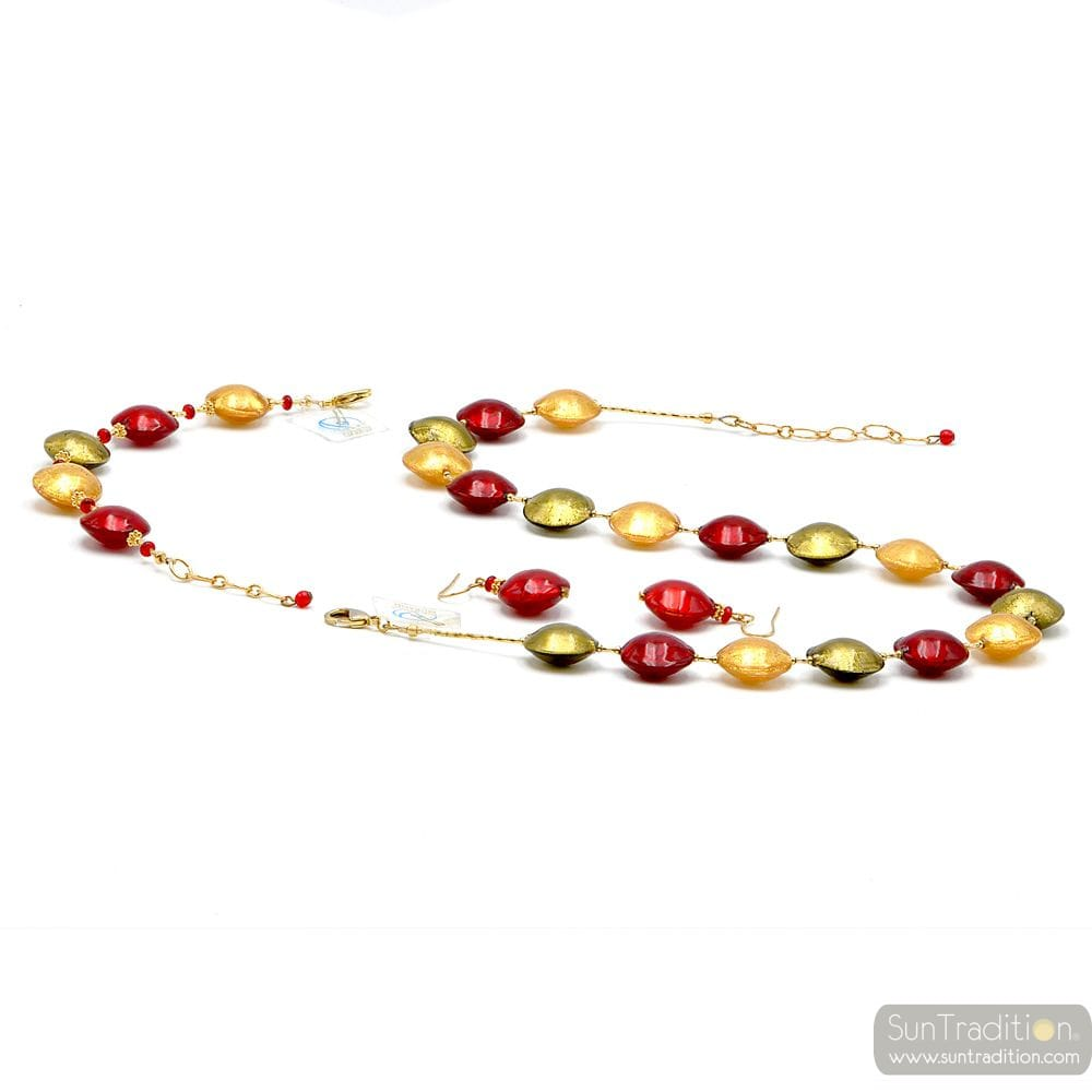 RED AND GOLD JEWELRY SET IN REAL GLASS MURANO