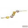 Gold and parma Murano glass bracelet Venitian Jewellery