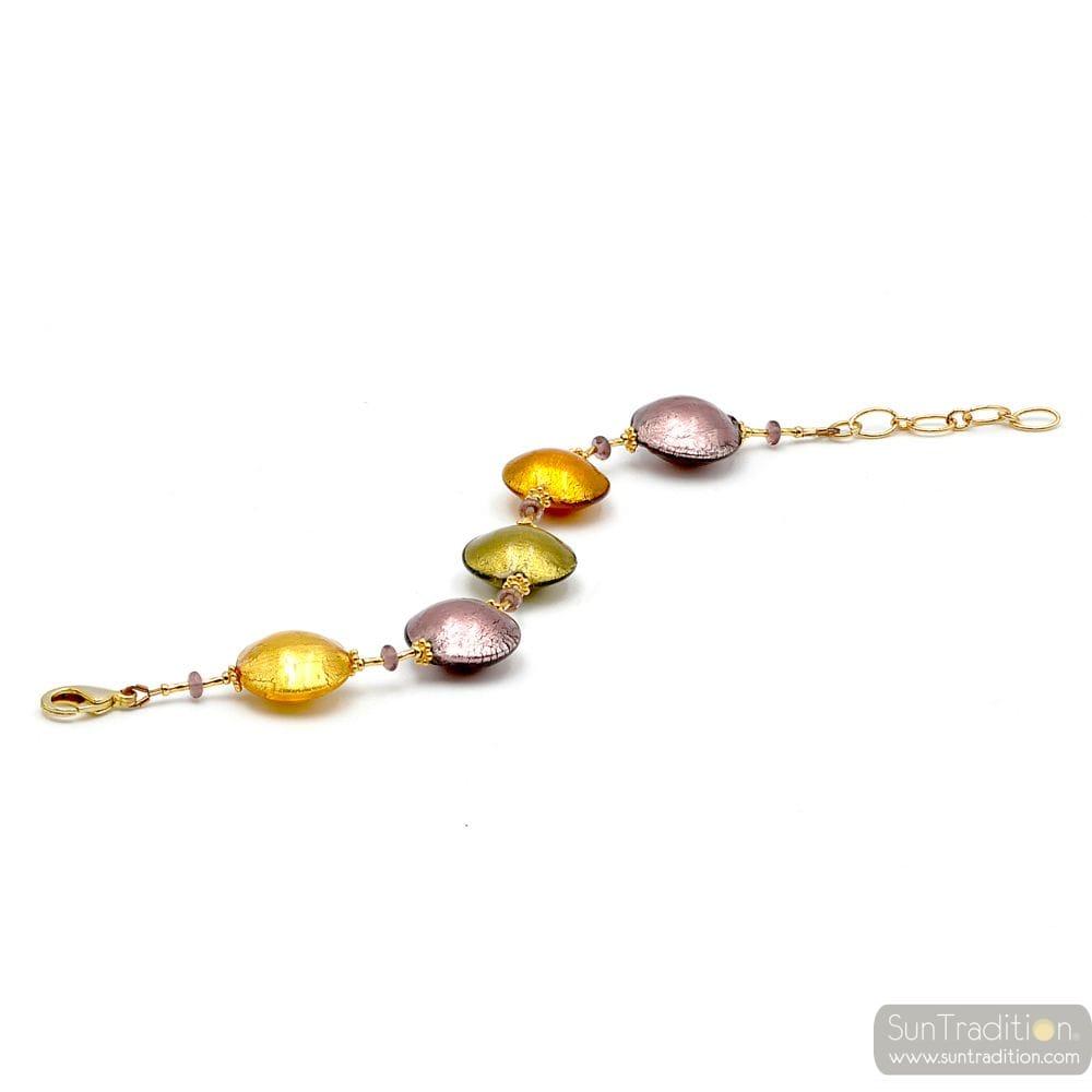 Gold and parma Murano glass bracelet Venitian Jewellery