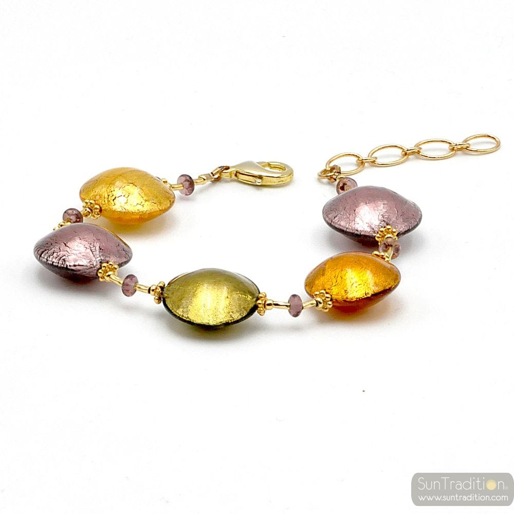 Pastiglia gold and parma - Gold and parma Murano glass bracelet Venice Italy
