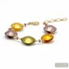 Gold and parma Murano glass bracelet Venice Italy