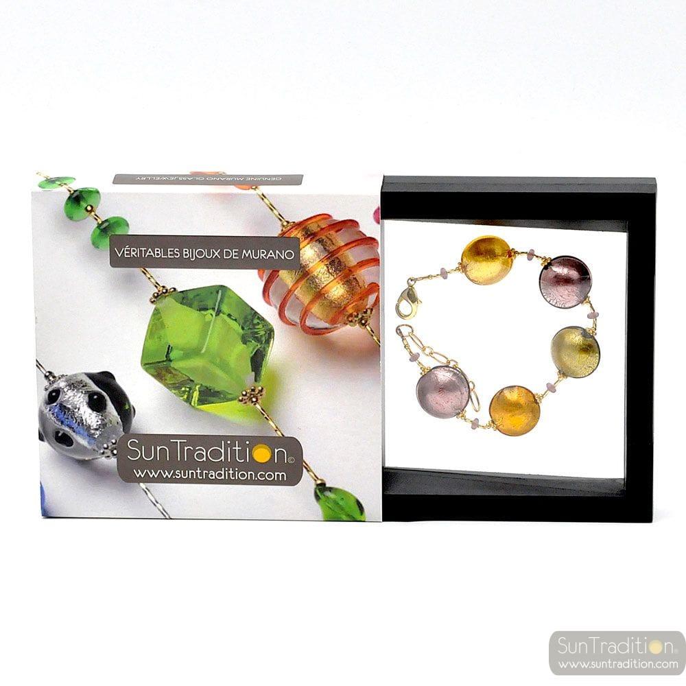 Gold and parma Murano glass bracelet glass of venice