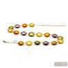 gold and parma Murano glass necklace genuine jewellery of Venice Italy