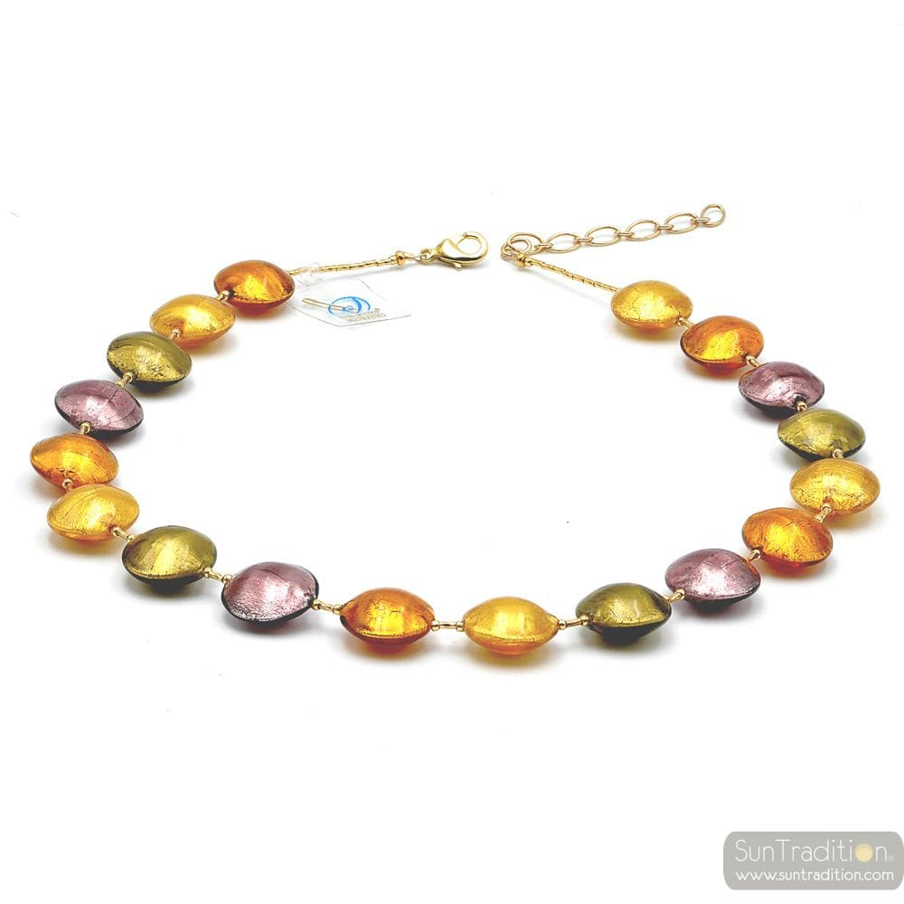 PASTIGLIA GOLD AND PARMA - GOLD MURANO GLASS NECKLACE JEWELRY GENUINE MURANO GLASS OF VENICE