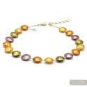 PASTIGLIA GOLD AND PARMA - GOLD MURANO GLASS NECKLACE JEWELRY GENUINE MURANO GLASS OF VENICE