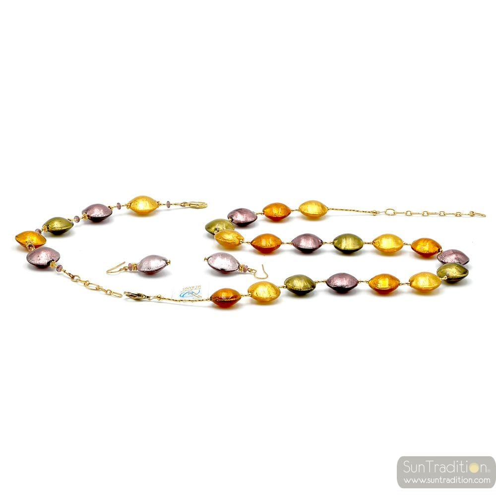 GOLD AND PARMA JEWELLERY SET IN REAL GLASS MURANO