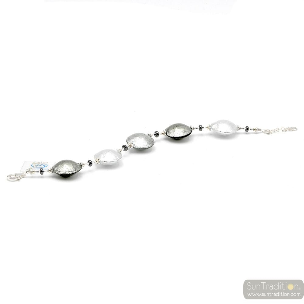 Silver pellets Murano glass bracelet Venice Italy