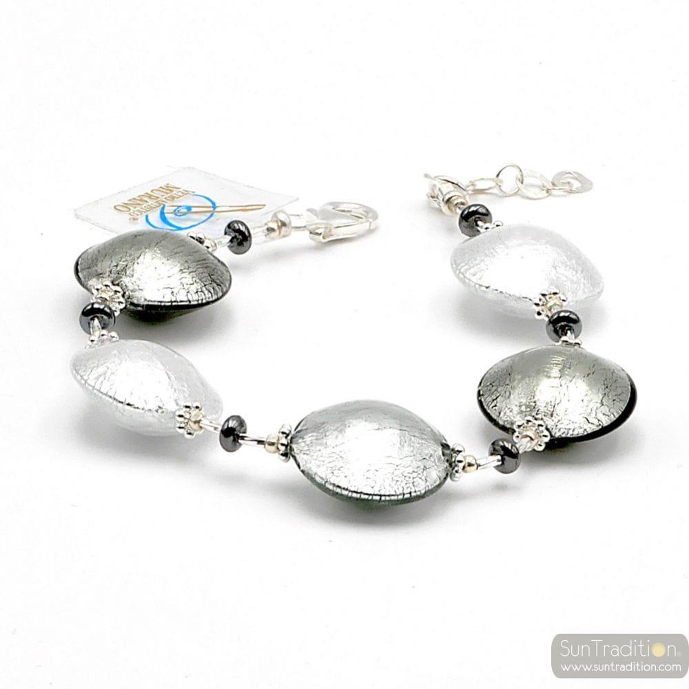 Silver pastiglia - Silver pellets Murano glass bracelet Venice Italy