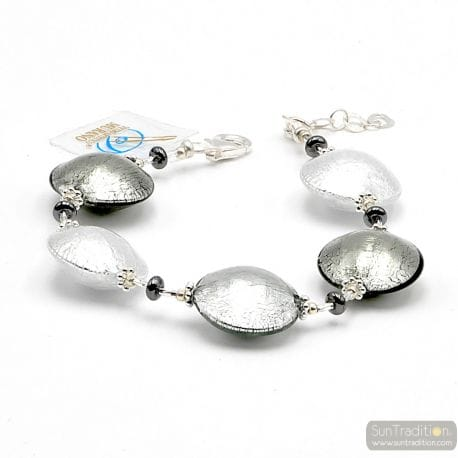 Silver Murano glass bracelet Venice Italy