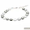 Pastiglia silver - Silver Murano glass pellets necklace real jewel of venice Italy