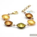 Pastiglia Two gold - Genuine amber and gold Murano glass bracelet venice Italy