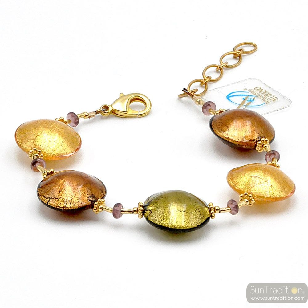 amber and gold Murano glass bracelet venice Italy