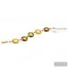 Genuine amber and gold Murano glass bracelet venice Italy