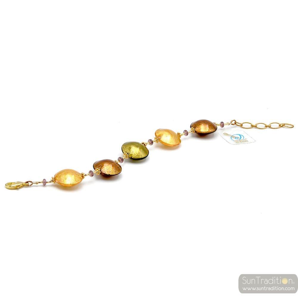 Genuine amber and gold Murano glass bracelet venice Italy