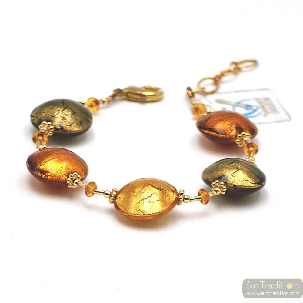Pastiglia autumn - Gold Murano glass bracelet from Venice Italy