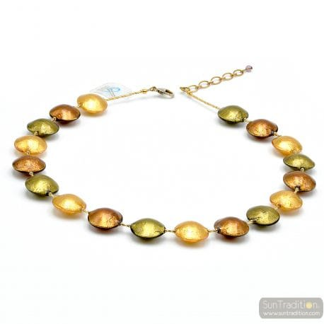 Gold Murano glass beads pellets necklace real venitian jewel of Italy