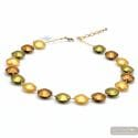Pastiglia gold - Gold Murano glass beads pellets necklace real venitian jewel of Italy