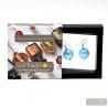 PASTIGLIA BLUE AZURE EARRINGS GENUINE MURANO GLASS OF VENICE