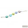 Blue and silver Murano glass bracelet from Venice Italy