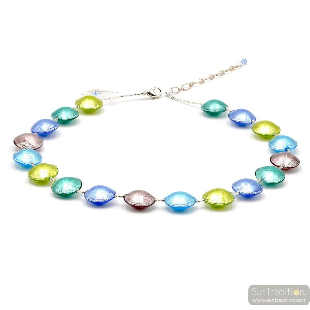 PASTIGLIA MULTI COLOURED - SILVER MURANO GLASS NECKLACE MURANO GLASS OF VENICE