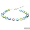 Pastiglia Multicolor - Multicolor and silver Murano glass necklace true italian jewel of Venice