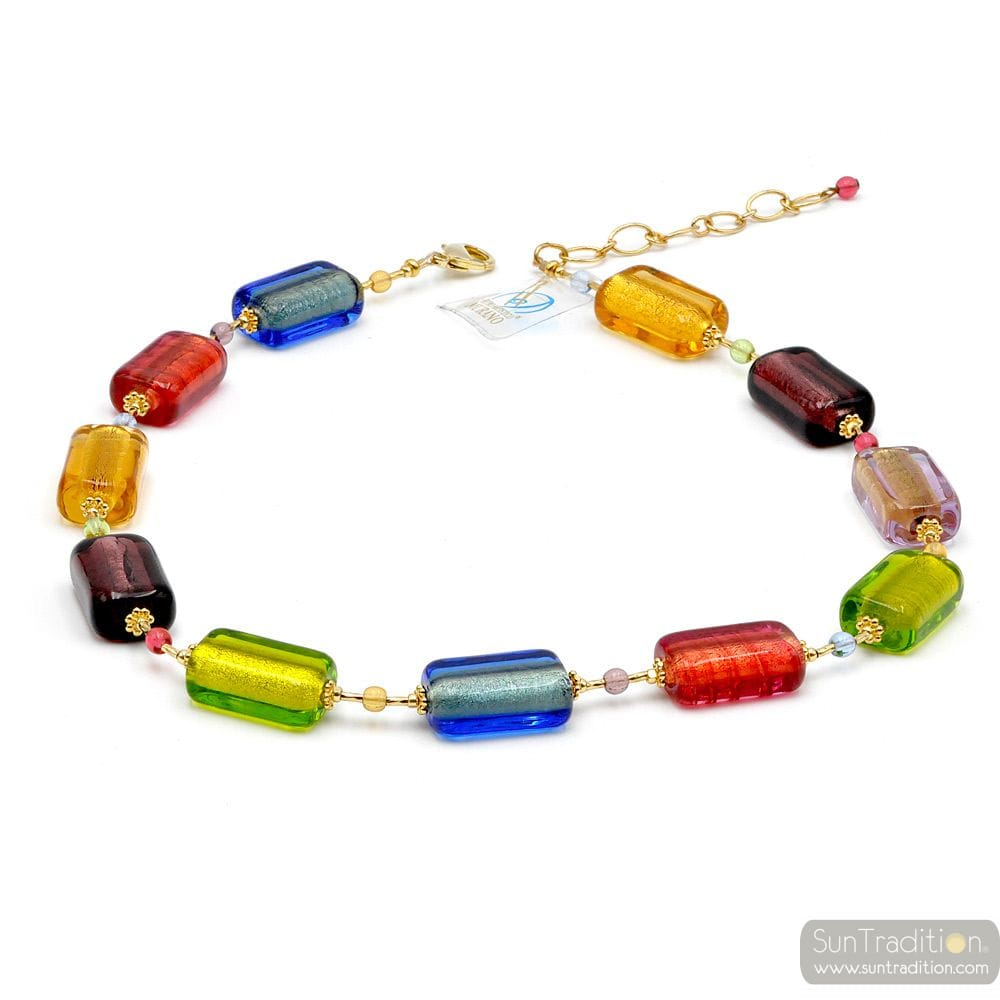 Multicolor Murano glass necklace true italian jewellery from Venice