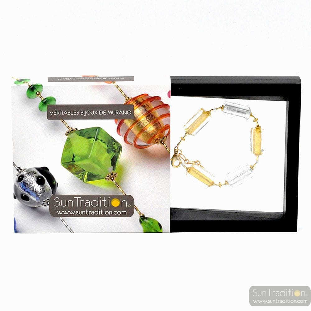 4 seasons winter - Genuine gold Murano glass bracelet from Venice