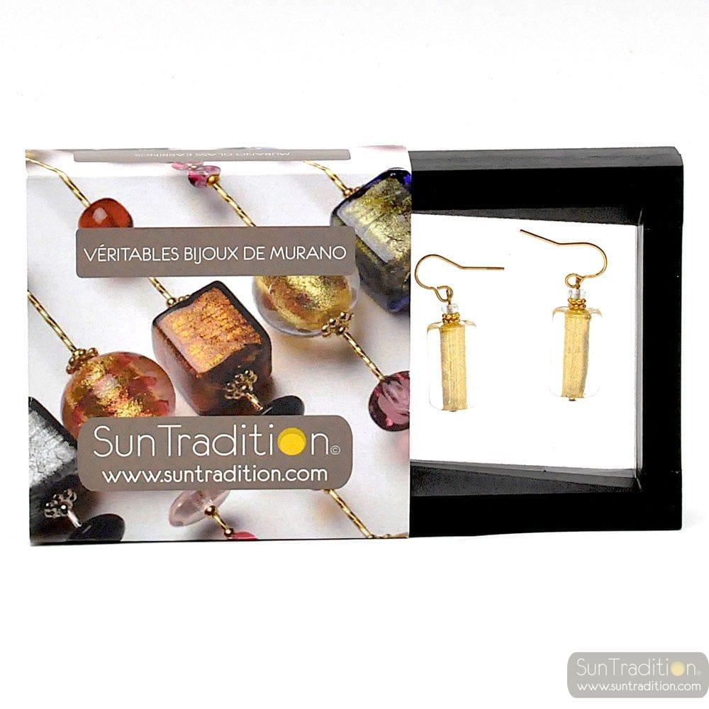 4 SEASONS - GOLD EARRINGS GENUINE MURANO GLASS VENICE