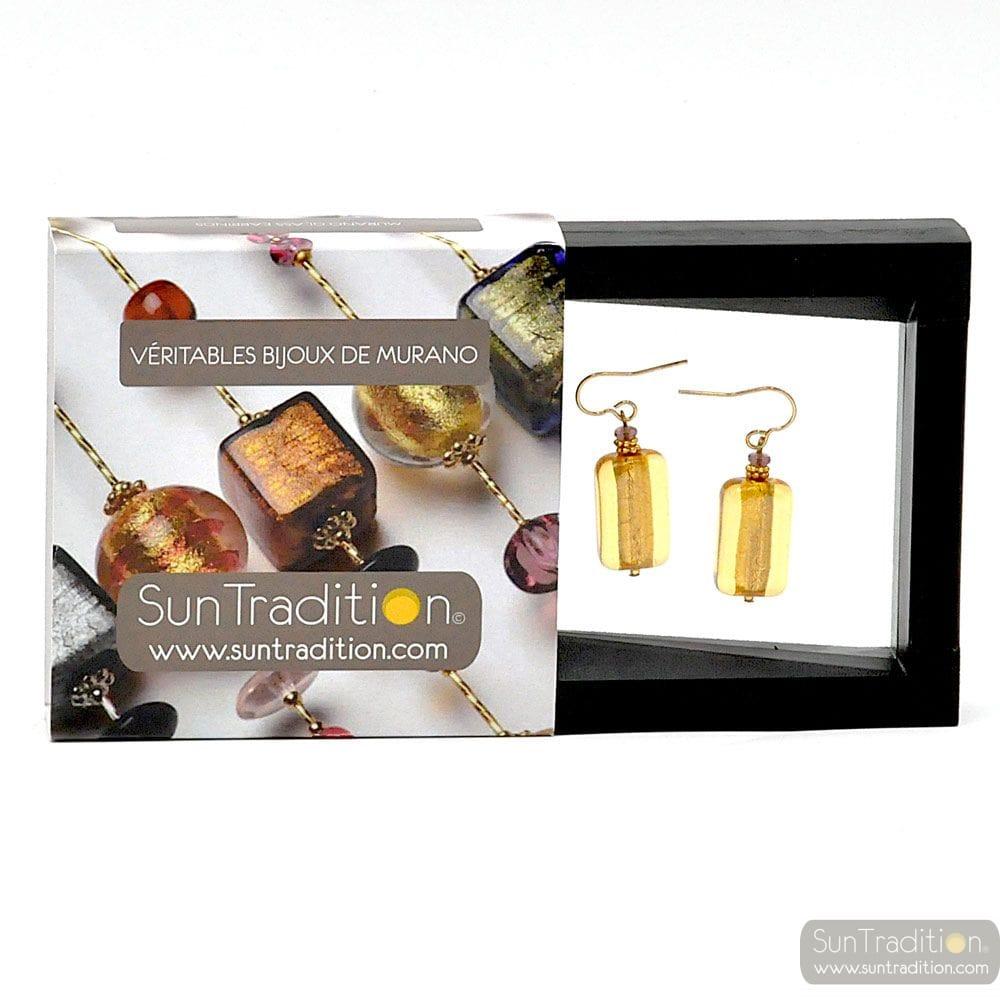 4 SEASONS - GOLD AMBER EARRINGS GENUINE MURANO GLASS VENICE