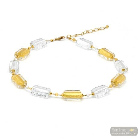 Gold Murano glass necklace real venitian jewel of Venice Italy