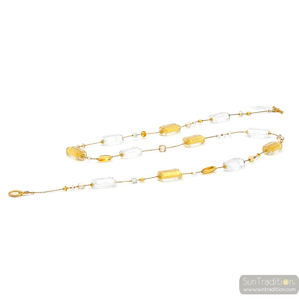 GOLD JEWELRY NECKLACE MURANO GLASS OF VENICE